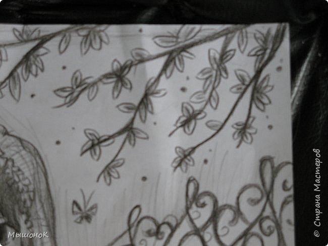 И еще раз всеееем приветик!!!)  Вот такой рисунок у меня нарисовался вчера)  Рисунок выполнен простым карандашом, на листе формата А4 фото 7