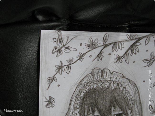 И еще раз всеееем приветик!!!)  Вот такой рисунок у меня нарисовался вчера)  Рисунок выполнен простым карандашом, на листе формата А4 фото 8