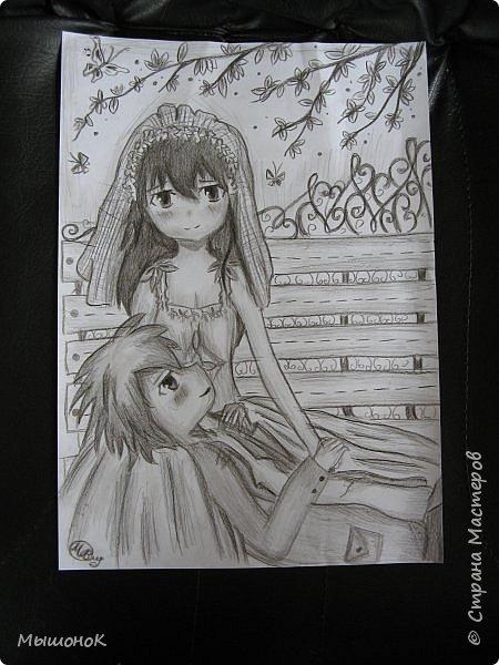 И еще раз всеееем приветик!!!)  Вот такой рисунок у меня нарисовался вчера)  Рисунок выполнен простым карандашом, на листе формата А4 фото 9