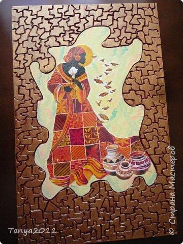 Добрый день, мастера и мастерицы! Оформляю кухню в стиле Африки. На скорую руку сделала несколько панно.  Делается быстро и легко. Это - размером 48 на 31 см. фото 1