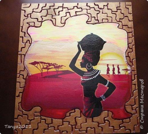Добрый день, мастера и мастерицы! Оформляю кухню в стиле Африки. На скорую руку сделала несколько панно.  Делается быстро и легко. Это - размером 48 на 31 см. фото 4