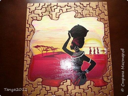 Добрый день, мастера и мастерицы! Оформляю кухню в стиле Африки. На скорую руку сделала несколько панно.  Делается быстро и легко. Это - размером 48 на 31 см. фото 23
