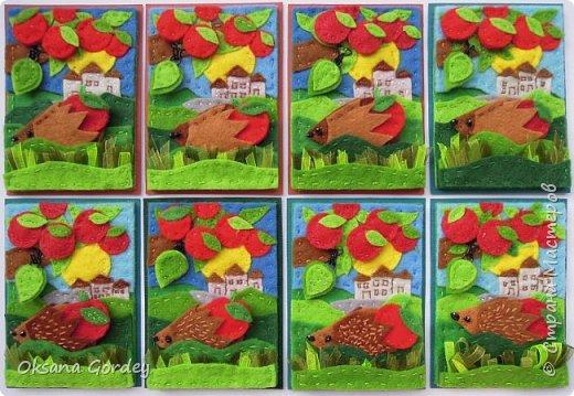 """Это мои карточки по первому этапу игры """"Детские игрушки в формате АТС"""" (об игре можно прочитать здесь  - http://stranamasterov.ru/node/1098610 ) . Вдохновившись фетровыми детскими книжками-развивайками, сделала вот таких ежиков. фото 1"""