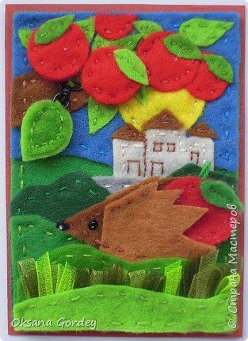 """Это мои карточки по первому этапу игры """"Детские игрушки в формате АТС"""" (об игре можно прочитать здесь  - http://stranamasterov.ru/node/1098610 ) . Вдохновившись фетровыми детскими книжками-развивайками, сделала вот таких ежиков. фото 10"""