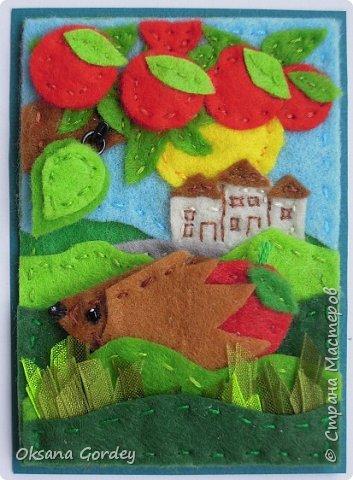 """Это мои карточки по первому этапу игры """"Детские игрушки в формате АТС"""" (об игре можно прочитать здесь  - http://stranamasterov.ru/node/1098610 ) . Вдохновившись фетровыми детскими книжками-развивайками, сделала вот таких ежиков. фото 13"""