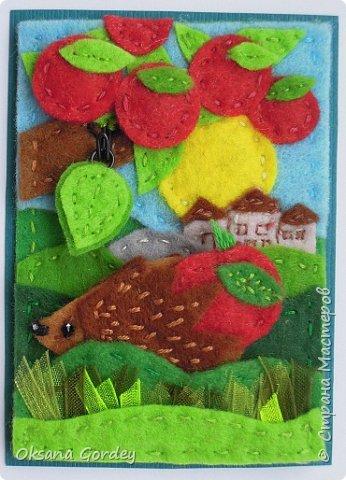 """Это мои карточки по первому этапу игры """"Детские игрушки в формате АТС"""" (об игре можно прочитать здесь  - http://stranamasterov.ru/node/1098610 ) . Вдохновившись фетровыми детскими книжками-развивайками, сделала вот таких ежиков. фото 14"""