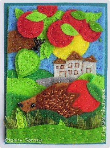 """Это мои карточки по первому этапу игры """"Детские игрушки в формате АТС"""" (об игре можно прочитать здесь  - http://stranamasterov.ru/node/1098610 ) . Вдохновившись фетровыми детскими книжками-развивайками, сделала вот таких ежиков. фото 16"""