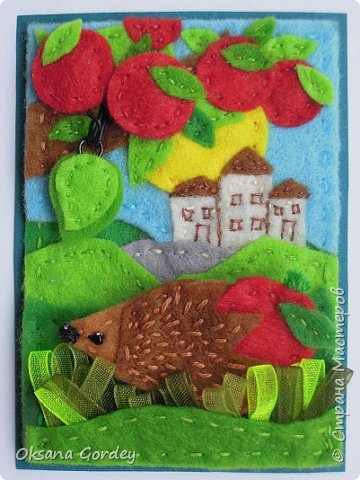 """Это мои карточки по первому этапу игры """"Детские игрушки в формате АТС"""" (об игре можно прочитать здесь  - http://stranamasterov.ru/node/1098610 ) . Вдохновившись фетровыми детскими книжками-развивайками, сделала вот таких ежиков. фото 3"""