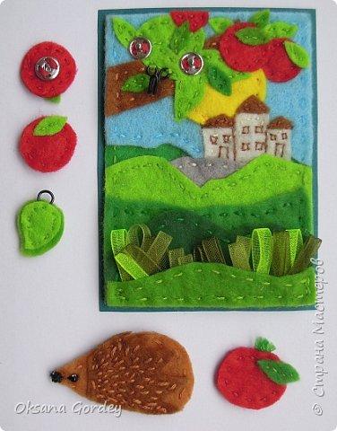 """Это мои карточки по первому этапу игры """"Детские игрушки в формате АТС"""" (об игре можно прочитать здесь  - http://stranamasterov.ru/node/1098610 ) . Вдохновившись фетровыми детскими книжками-развивайками, сделала вот таких ежиков. фото 6"""