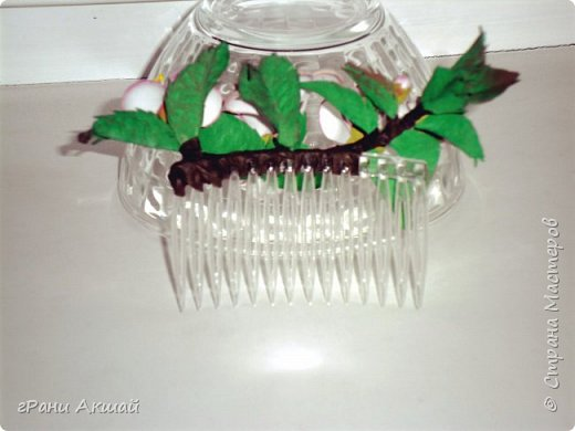 украшение для волос-гребни со цветами фото 16