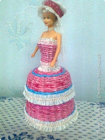 Увидела у других мастериц такие шкатулочки,попробовала сплести платье,подарила маленькой подружке.  фото 1