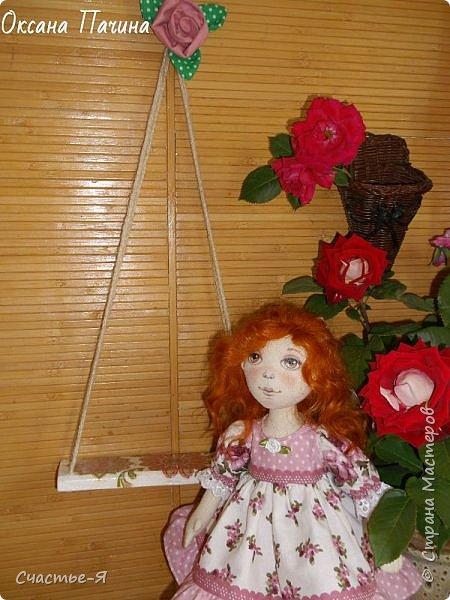Привет,Страна! Хочу показать свою новую девочку. Знакомьтесь- Варенька.  Текстильная кукла. Выкройка моя .  Голова поворачивается, ножки сгибаются. Роспись лица акрил и пастель .Волосы - локоны ангорской козочки. фото 3