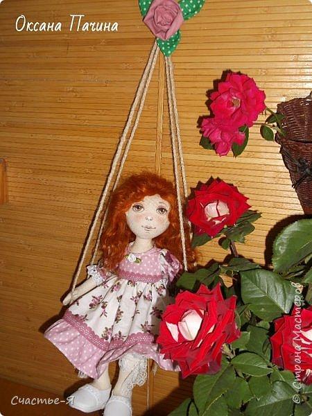 Привет,Страна! Хочу показать свою новую девочку. Знакомьтесь- Варенька.  Текстильная кукла. Выкройка моя .  Голова поворачивается, ножки сгибаются. Роспись лица акрил и пастель .Волосы - локоны ангорской козочки. фото 2