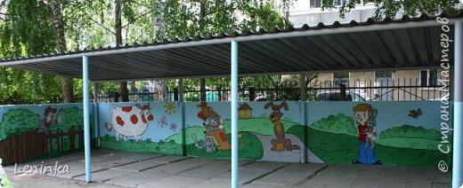 Вот наступило лето и я опять ремонтирую очередные веранды в детском саду.  Очень люблю наши советские мультики. Вот что у меня получилось. Картинки я срисовывала.Краски акриловые в конце работы все покрыла лаком. Строго не судите я не художник. фото 16