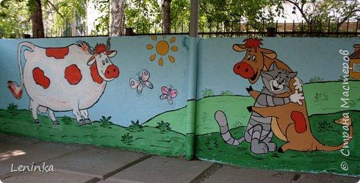 Вот наступило лето и я опять ремонтирую очередные веранды в детском саду.  Очень люблю наши советские мультики. Вот что у меня получилось. Картинки я срисовывала.Краски акриловые в конце работы все покрыла лаком. Строго не судите я не художник. фото 23