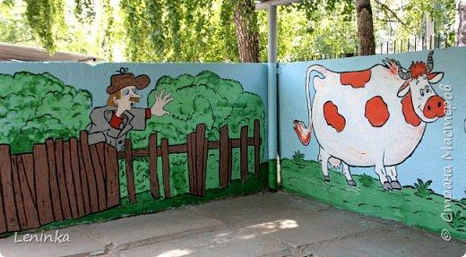 Вот наступило лето и я опять ремонтирую очередные веранды в детском саду.  Очень люблю наши советские мультики. Вот что у меня получилось. Картинки я срисовывала.Краски акриловые в конце работы все покрыла лаком. Строго не судите я не художник. фото 24