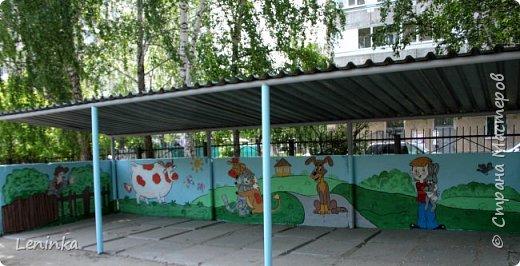 Вот наступило лето и я опять ремонтирую очередные веранды в детском саду.  Очень люблю наши советские мультики. Вот что у меня получилось. Картинки я срисовывала.Краски акриловые в конце работы все покрыла лаком. Строго не судите я не художник. фото 25