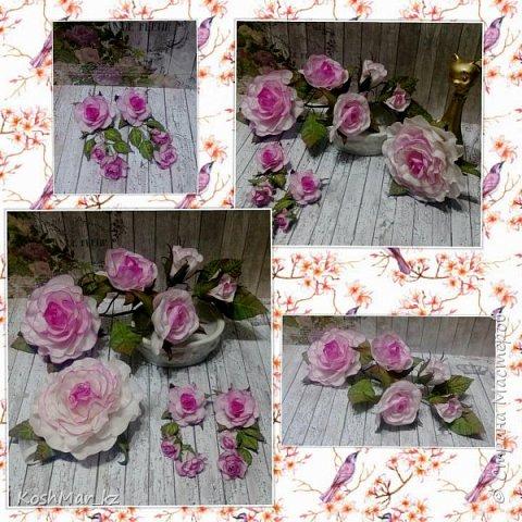 """Клмплект """"Нежность роз"""" - брошь 20см, серьги, браслет на эластичной ленте фото 1"""