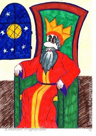 Сказка о том, как царь луну съел В стародавние времена в одном царстве-государстве жил-был царь.  Неплохой был царь - не хуже других; не то чтобы совсем глупый, но и не шибко умный, в общем, самый обычный царь. Только и делал тот царь, что всё время сидел на своём царском троне да скучал. И вот как-то раз сидел он так, скучал и, зевая в окно посматривал. Уже и солнышко село, уже и ночь наступила, все звёзды на небо высыпали, а царь всё ещё сидит в окно глядит. Тут показалась на небе полная луна. Смотрит царь на луну и думает: «Красивая нынче луна выросла, большая! А может она ещё и вкусная? Вот бы её попробовать!» Хлопнул он три раза в ладоши, сбежались к нему слуги, а царь им и говорит: - Приказываю я, вам, к моему царскому столу луну с неба достать! Кто мне угодить сможет и хоть маленький кусочек  для меня добудет, того награжу щедро – шапку его золотом прикажу до краёв наполнить, ну а коли воли моей никто исполнить не сможет – велю я вас всех тогда казнить, никого не помилую! Слушают слуги царский указ, дивятся, между собой перешёптываются: «Где ж это, - мол, - видано, чтоб простому человеку можно было луну с неба достать? Невозможно это!» - однако возразить  царю, никто не смеет. «Надо бы указ царский до народа донести, - решили они. – По всем городам, по всем сёлам и деревням клич кинуть. Простой народ он сметливый; чего  ведь только в мире не бывает, может и сыщется такой молодец, что сумеет луну с неба добыть». Как решили  – так и сделали. Разослали гонцов с царским указом во все концы царства – да только во дворец с кусочком луны для царя никто не спешит. Вздыхают люди, головами  качают - всем царской награды получить хочется. Шутка ли? Полная шапка золота! Только как же луну для  царя достать? Как на небо залезть? Нельзя ведь никак это! Так прошёл день, наступил вечер. Царь на своих слуг гневается, кулаками машет, ногами топает, - Ах вы такие-сякие! – кричит. – Не желаете своему царю угодить! Не можете для меня даже луны достать! Лодыри! Бездельники! Казнит