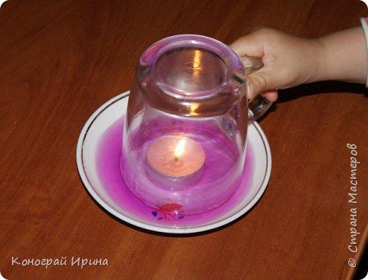 Интересный опыт для деток со свечой и водой. фото 5