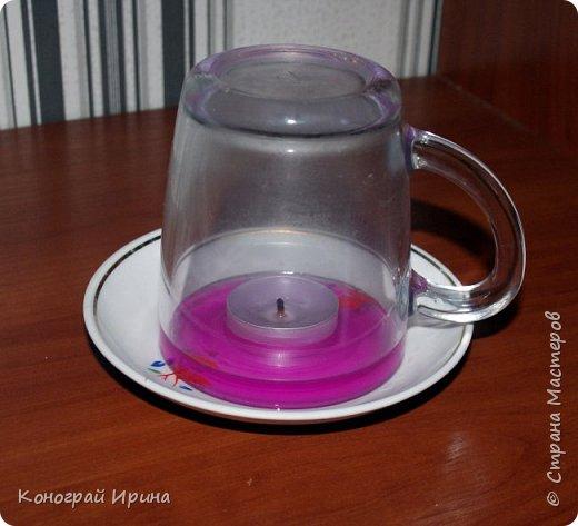 Интересный опыт для деток со свечой и водой. фото 1