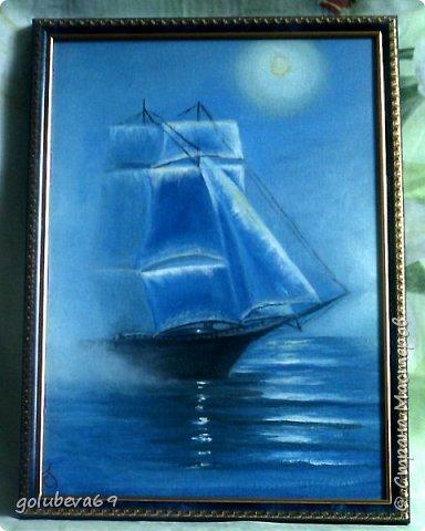 Парусник. Картина нарисована акрилом на грунтованном оргалите размер 21X30. фото 2