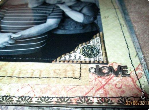Здравствуйте, дорогие соседи по СМ! Однажды в Интернете наткнулась на работу Pastilа (Olga Znamenskaya) - анатомический альбом Love story в стиле гранж http://pastilka.blogspot.ru/2012/02/love-story.html . Я аж заболела, как влюбилась в него! Так мне захотелось сделать что-то подобное! А тут так удачно приближался юбилей совместной жизни родителей! Вот я и заморочилась с альбомом! Правда, сделать его анатомическим все же не решилась, вдруг родители не оценят.  Получился он у меня конечно же совсем не такой как у Пастилы, но идея взята у нее! фото 10
