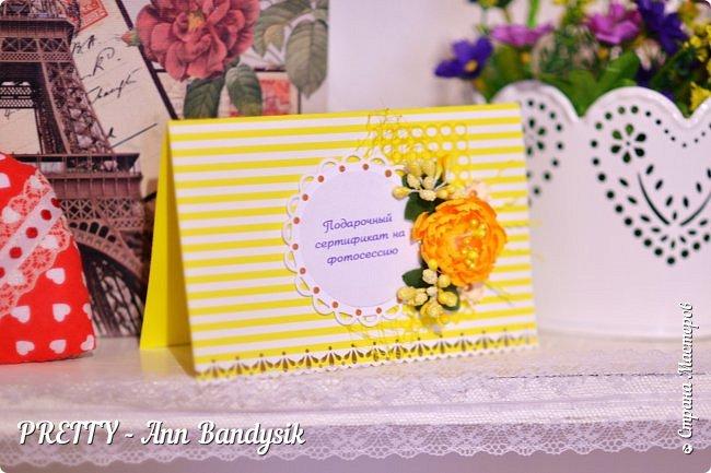Подарочные цветочные сертификаты на фотосессию для фотографа! фото 1