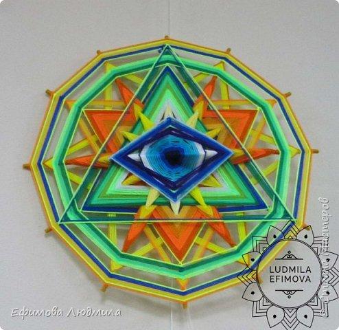 Плетёная мандала Око Бога 16-ти лучевая. Диаметр 40см. Сплетениа на усиление Вашей связи с Высшими Силами и на нахождение и активного продвижения по Вашему духовному пути. А также на привлечение в вашу жизнь творчества. 40см диаметр. фото 90