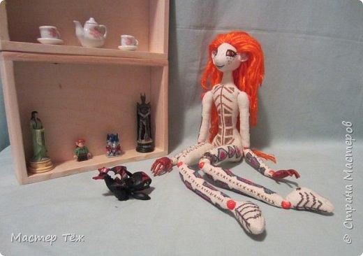 """Были у меня остатки ткани двунитка. решил сделать из неё куклу. Т.к. ткань осыпается сильно, кукла должны быть крупная. Сказано - сделано. И ходило тельце туда сюда около месяца, пока я другую работу доделывал. Потом остановился. Думаю: на двунитке ведь крестиком вышивать удобно! Решил попробовать. Мой первый опыт вышивки крестом по """"коже"""" куклы. Мне очень понравился процесс - вышивка вообще для меня такой релакс ^^ Как только узор начал вырисовываться, сразу и образ стал появляться: это мальчик и он будет рыжим!  Купил вискозу для валяния, сделал волосы, вышил глазки, и вот он -  Тимфольд.  Дальше уже фото самой куклы.  фото 18"""