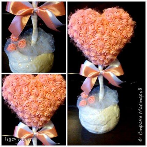 Сердце из роз. Топиарий. Подарок фото 2