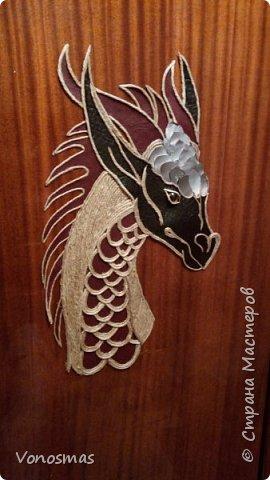 Голова дракона из кожи, джутового шпагата и алюминия фото 8