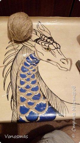Голова дракона из кожи, джутового шпагата и алюминия фото 3