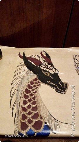 Голова дракона из кожи, джутового шпагата и алюминия фото 5