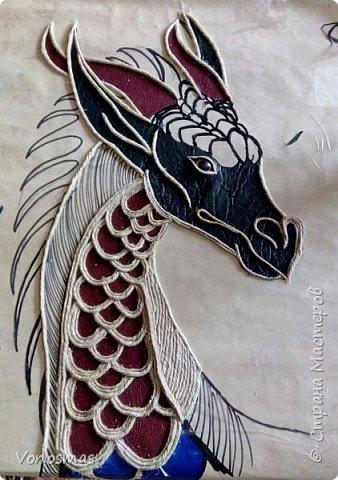 Голова дракона из кожи, джутового шпагата и алюминия фото 6