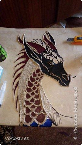 Голова дракона из кожи, джутового шпагата и алюминия фото 7