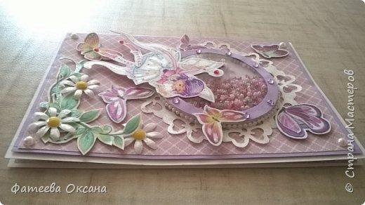 Здравствуйте, уважаемые жители Страны Мастеров! У меня создалась открытка-шуршалка с феечкой и бабочками.  фото 3