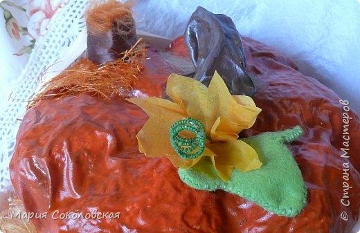 Здравствуйте дорогие мои! Сегодня приглашаю Вас в гости в Тыкву-домик на чаепитие!))) Тыква-домик сделана из обычной упаковочной коробки цилиндрической формы. Размер поделки: 30х30 см. Техника: грунтовка, папье-маше, драпировка тканью с ПВА, декор (использовала клей момент Кристалл), лак... фото 7