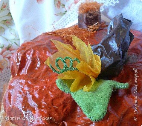 Здравствуйте дорогие мои! Сегодня приглашаю Вас в гости в Тыкву-домик на чаепитие!))) Тыква-домик сделана из обычной упаковочной коробки цилиндрической формы. Размер поделки: 30х30 см. Техника: грунтовка, папье-маше, драпировка тканью с ПВА, декор (использовала клей момент Кристалл), лак... фото 8
