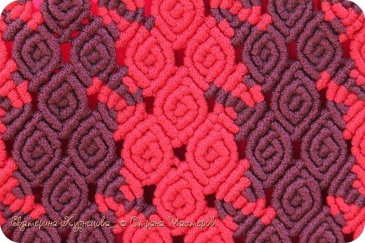 Сумка плетена из полипропиленового шнура 4 мм, ручки выполнены в технике кумихимо на станке марудай. Размер сумки 31х23 см. фото 4