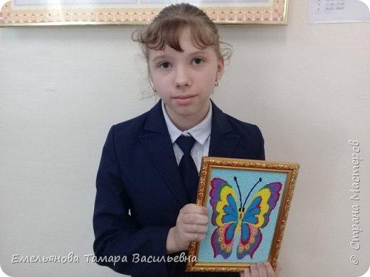 """Анфилофьева Оксана, ученица 5 """"А"""" класса, 11 лет выложила бисером бабочку. фото 2"""