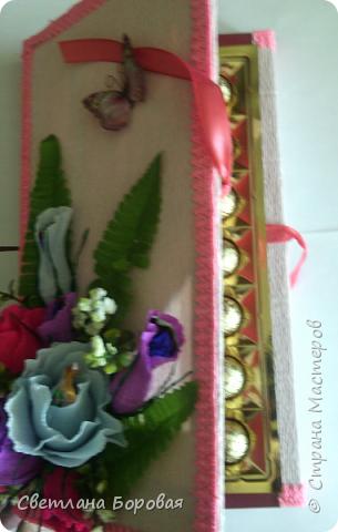"""Немного фантазии и обычные конфеты превращаются в цветы. Два варианта сладких букетов. Первый вариант - коробка конфет """"Коркунов"""". фото 3"""