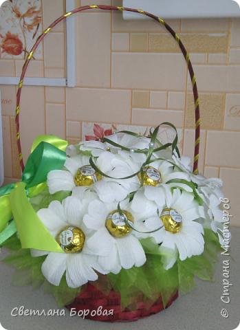 """Немного фантазии и обычные конфеты превращаются в цветы. Два варианта сладких букетов. Первый вариант - коробка конфет """"Коркунов"""". фото 4"""