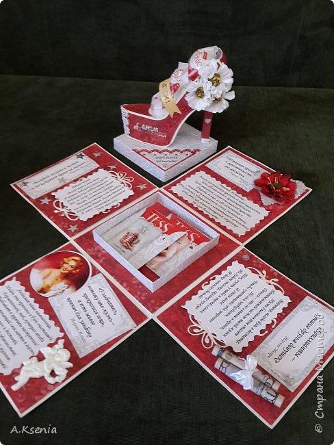 Всем привет! Сегодня хочу поделиться с Вами коробочками, которые у меня получились на заказ ко дню свадьбы и на день рождения. Одна из коробочек выполнена в красно-серой цветовой гамме и имеет размер 14х14 см. Вот и она... фото 3