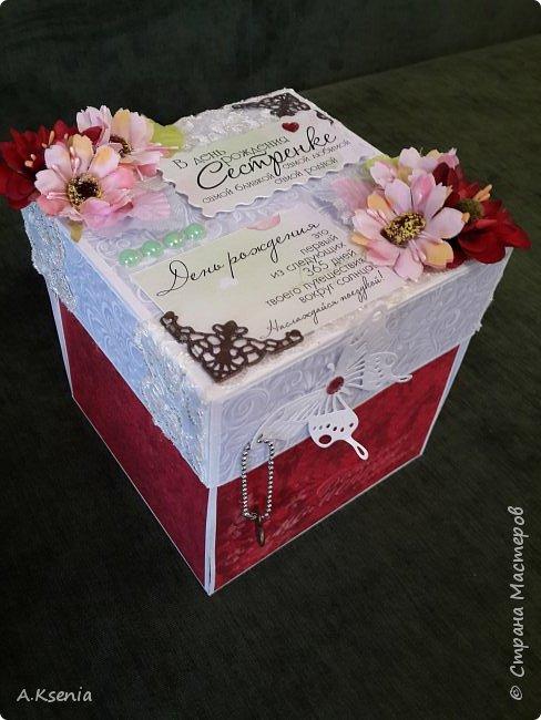Всем привет! Сегодня хочу поделиться с Вами коробочками, которые у меня получились на заказ ко дню свадьбы и на день рождения. Одна из коробочек выполнена в красно-серой цветовой гамме и имеет размер 14х14 см. Вот и она... фото 1