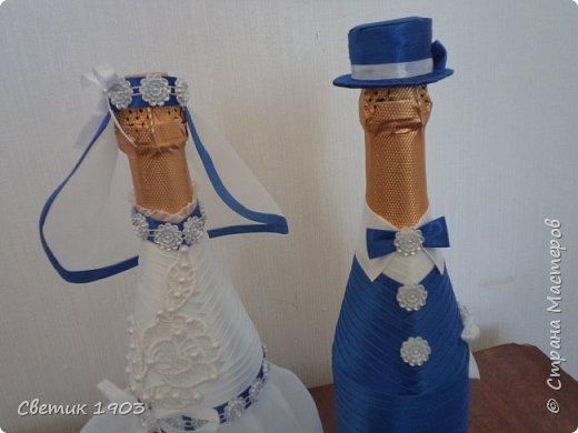 Весна-начало свадеб, начало прекрасной поры, начало приятной работы у меня.  Приглашаю  посмотреть   работу  в свадебной тематике- бело-синий свадебный набор. фото 3