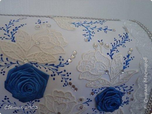 Весна-начало свадеб, начало прекрасной поры, начало приятной работы у меня.  Приглашаю  посмотреть   работу  в свадебной тематике- бело-синий свадебный набор. фото 8
