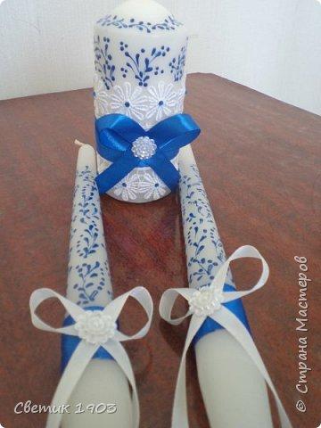 Весна-начало свадеб, начало прекрасной поры, начало приятной работы у меня.  Приглашаю  посмотреть   работу  в свадебной тематике- бело-синий свадебный набор. фото 11