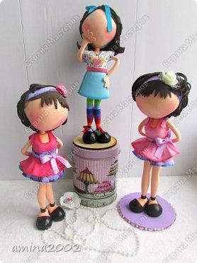 """Добрый день!Штампы кукол из серии """"Прима Долл"""" используются мастерами скрапбукинга, для создания невероятно красивых открыток.Куклы из фоамирана созданы по мотивам этих штампов.Высота кукол примерно 26-27см. фото 1"""