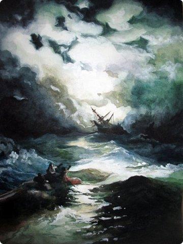 """""""Рано или поздно любой ураган, любая буря улягутся… и наступит привычное спокойствие. Ни один шторм не длится бесконечно…""""   Акварель. Формат А3.  фото 1"""